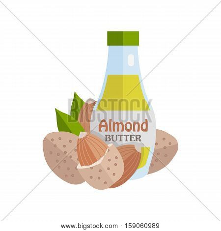 Almonds with Almond Butter. Ripe almonds in flat. Almond butter in glass bottle. Several brown almond kernels with leaves. Healthy vegetarian food. Vector illustration