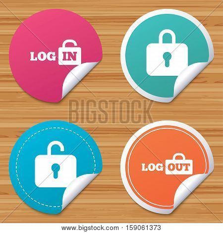 Round stickers or website banners. Login and Logout icons. Sign in or Sign out symbols. Lock icon. Circle badges with bended corner. Vector