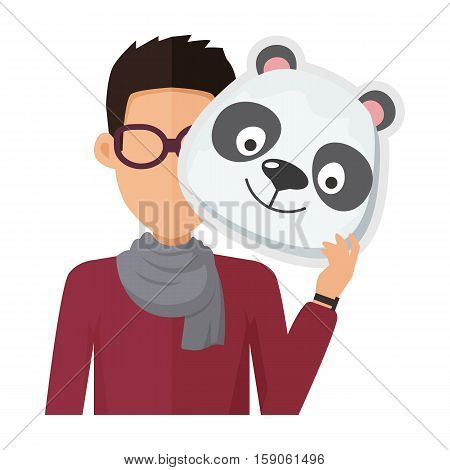 Man without face in glasses with panda mask isolated on white. Boy in sweater and scarf with carnaval festival mask for children. Funny cartoon masquerade masque. Animator userpic avatar. Vector