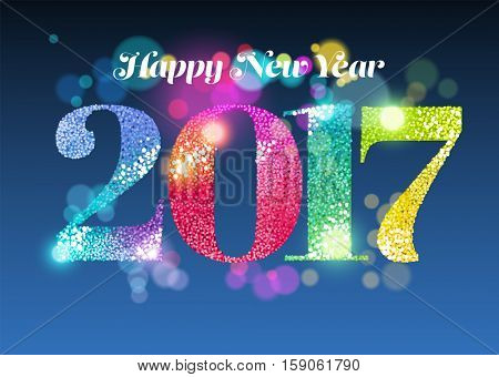 Happy New Year 2017with glitter and light effects, greeting card, eps10 vector