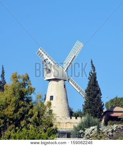 JERUSALEM ISRAEL 25 11 16: Montefiore Windmill is a landmark windmill in Jerusalem, Israel. Designed as a flour mill, it was built in 1857 on a slope opposite the western city walls of Jerusalem,