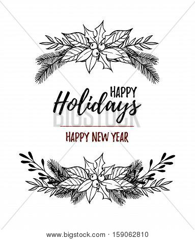 Hand Drawn Vector Illustration Christmas Wreath .christmas Design Elements ( Laurel, Leaf, Holly, Fi