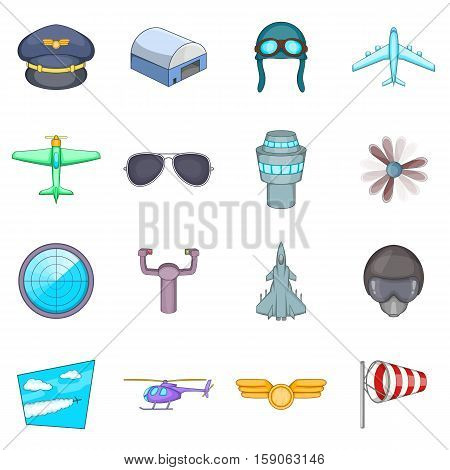 Aviation icons set. Cartoon illustration of 16 aviation vector icons for web