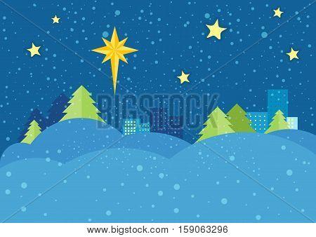 Christmas night vector concept. Flat design. Starry sky with bright eight-pointed star of Bethlehem on snowy winter night, snowdrifts, spruce trees, city lights far. Winter holidays celebrating