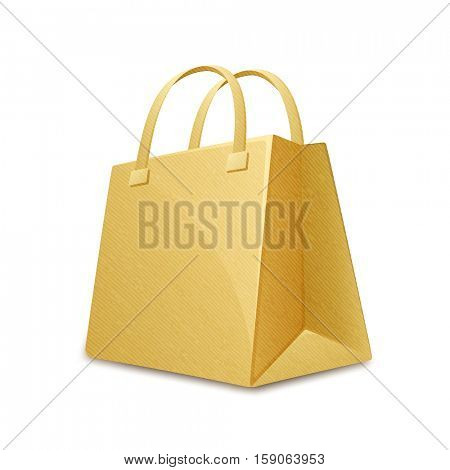 Brown color cardboard paper shopping bag. Paper shopping bag. Vector illustration
