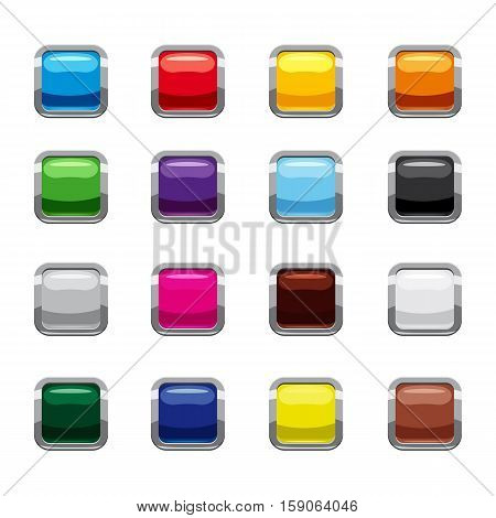 Blank square colorful rounded web buttons icons set. Cartoon illustration of 16 blank square colorful rounded buttons vector icons for web