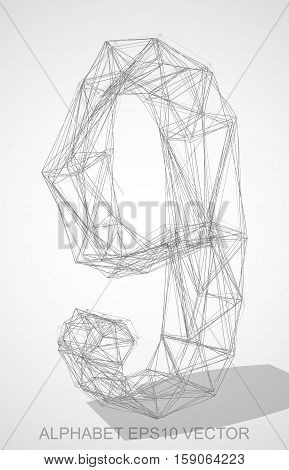 Abstract illustration of a Pencil sketched 9 with Transparent Shadow. Hand drawn 3D 9 for your design. EPS 10 vector illustration.