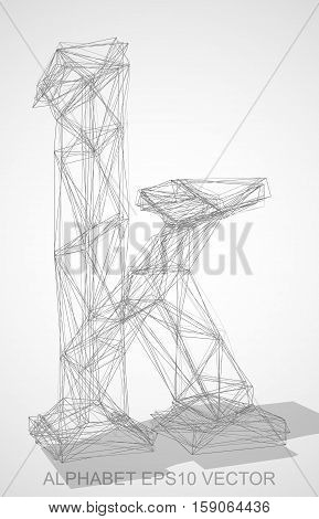 Abstract illustration of a Pencil sketched lowercase letter K with Transparent Shadow. Hand drawn 3D K for your design. EPS 10 vector illustration.