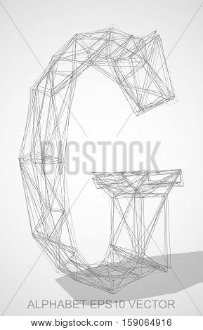 Abstract illustration of a Pencil sketched uppercase letter G with Transparent Shadow. Hand drawn 3D G for your design. EPS 10 vector illustration.