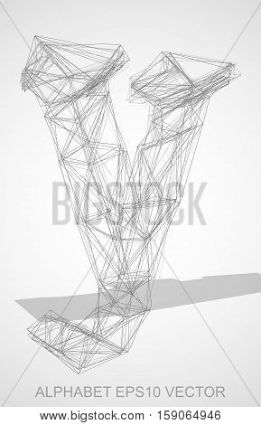 Abstract illustration of a Pencil sketched lowercase letter Y with Transparent Shadow. Hand drawn 3D Y for your design. EPS 10 vector illustration.