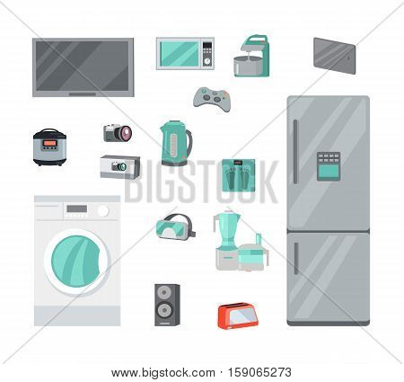 Home Appliances for cooking, washing, entertainment. Technique for housekeeping flat vector illustrations isolated on white background. Kitchen, gaming, music, electronic equipment set for stores ad