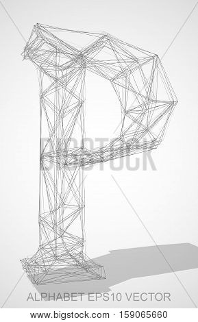 Abstract illustration of a Pencil sketched uppercase letter P with Transparent Shadow. Hand drawn 3D P for your design. EPS 10 vector illustration.