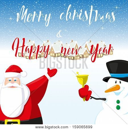 Merry Christmas and Happy New Year banner. Cute Santa Claus and funny snowman outdor. Hand drawn lettering. Concept design greeting card flyer or poster. Cartoon style. Vector illustration