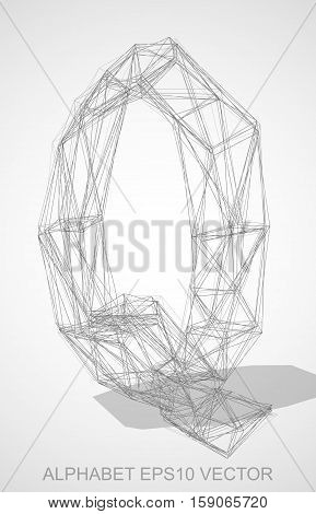 Abstract illustration of a Pencil sketched uppercase letter Q with Transparent Shadow. Hand drawn 3D Q for your design. EPS 10 vector illustration.