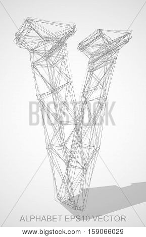 Abstract illustration of a Pencil sketched uppercase letter V with Transparent Shadow. Hand drawn 3D V for your design. EPS 10 vector illustration.