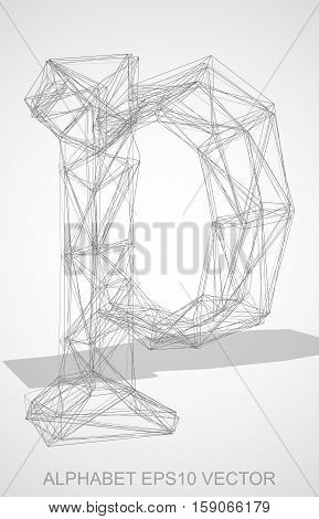 Abstract illustration of a Pencil sketched lowercase letter P with Transparent Shadow. Hand drawn 3D P for your design. EPS 10 vector illustration.