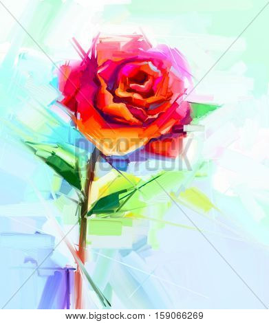 Abstract oil painting of spring flower. Still life of red rose. Colorful bouquet flower with light yellow green and blue background. Hand Painted floral Impressionist style