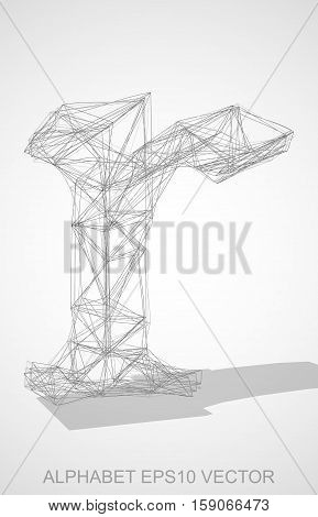 Abstract illustration of a Pencil sketched lowercase letter R with Transparent Shadow. Hand drawn 3D R for your design. EPS 10 vector illustration.