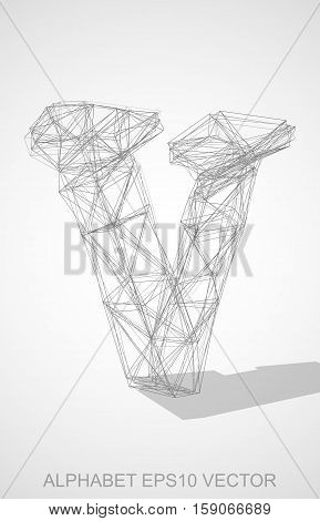 Abstract illustration of a Pencil sketched lowercase letter V with Transparent Shadow. Hand drawn 3D V for your design. EPS 10 vector illustration.