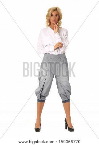 Beautiful Sexual Model Blonde Pose In Galife Breeches