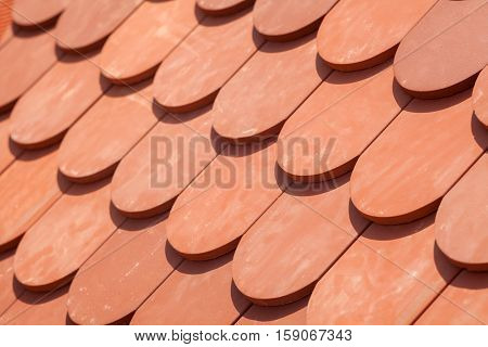 New natural red roof tile pattern closeup