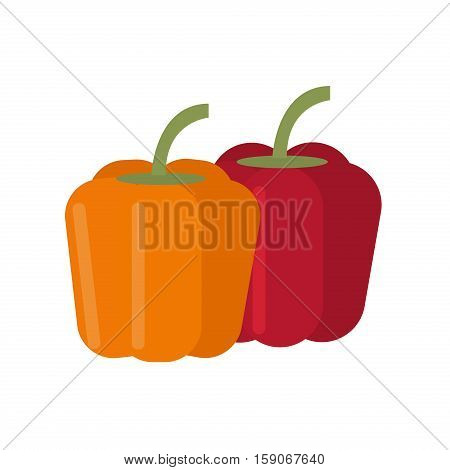 Pepper healthy ingredient fresh organic paprika. Set of two peppers. Yellow, red mexican group chilli pepper. Vector illustration vegetarian pepper cooking, plant.
