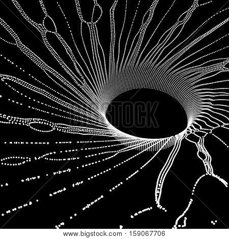 Black hole made from Flying Particles. Abstract Background. 3D Vector Illustration.