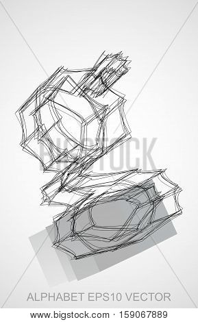 Abstract illustration of a Ink sketched lowercase letter G with Reflection. Hand drawn 3D G for your design. EPS 10 vector illustration.