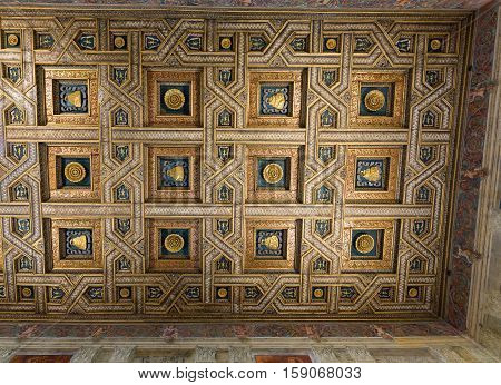 MANTUA ITALY - MAY 2 2016: The ceiling frescoes of Palazzo Te in Mantua. The palace was built 1524-1534 in the mannerist architectural style for Federico II Gonzaga Marquess of Mantua. Italy