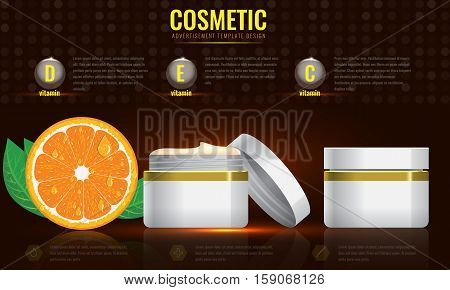 Cosmetic ads template, blank cosmetic mockup with sparkling effect. Orange with leaf. Product information and translucent liquid ball. Vector 3D illustration