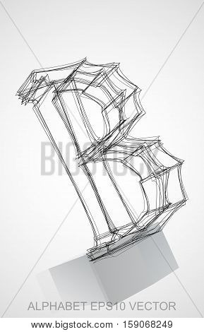 Abstract illustration of a Ink sketched uppercase letter B with Reflection. Hand drawn 3D B for your design. EPS 10 vector illustration.