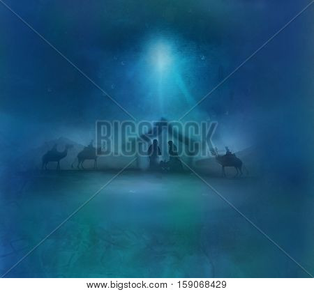Biblical scene - birth of Jesus in Bethlehem , raster