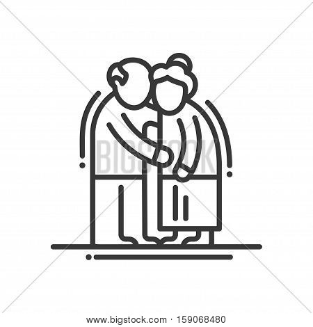 Elderly couple - vector line design single isolated icon, pictogram. Old man and woman standinng together