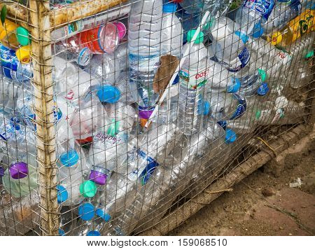 August 12 2016 - Chiang mai Thailand : Recyclable garbage of plastic bottles in rubbish bin