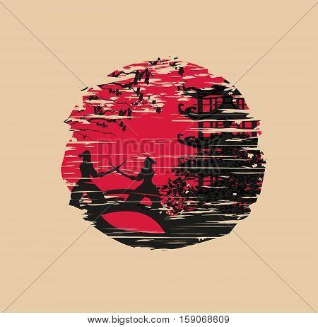 Japanese Samurai fighter - grunge card , vector illustration