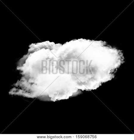 Single white fluffy cloud isolated over black background 3D rendering illustration design elements