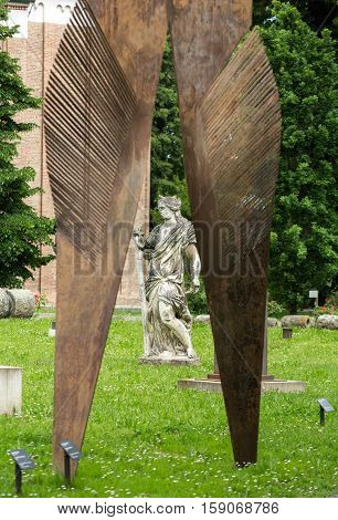 PADUA, ITALY - MAY 3, 2016: The contemporary art in the garden Civic Museum of the Hermits. Padua Italy