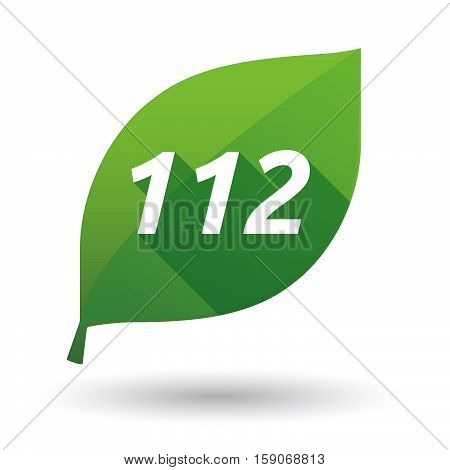 Isolated Leaf Icon With    The Text 112