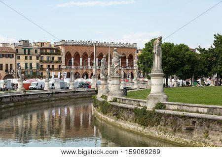 PADUA, ITALY - MAY 3, 2016:Lodge Amulea in the Great piazza of Prato della Valle also known as Ca' Duodo Palazzo Zacco in Padua Italy