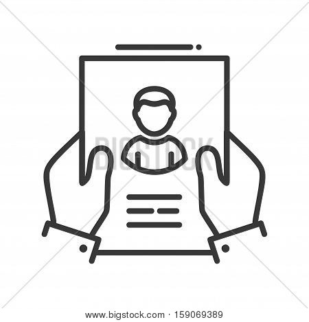 Resume - vector line design single isolated icon, pictogram. Hands holding page with resume