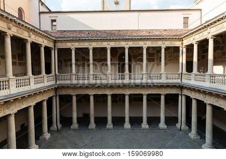 PADUA, ITALY - MAY 3, 2016: Palazzo Bo historical building home of the Padova University from 1539 in Padua Italy