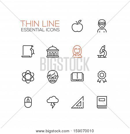 Education - modern vector plain simple thin line design icons and pictograms set. Apple, student, certificate, university, microscope, tutor, book, badge, science, computer mouse brainstorming ruler