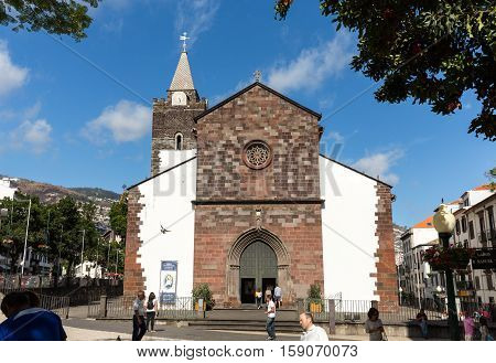 FUNCHAL, MADEIRA, SPAIN - SEPTEMBER 1, 2016: The Cathedral of Our Lady of the Assumption in Funchal Madeira island Portugal