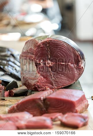 Fresh tuna at fish market Mercado dos Lavradores. Funchal Madeira