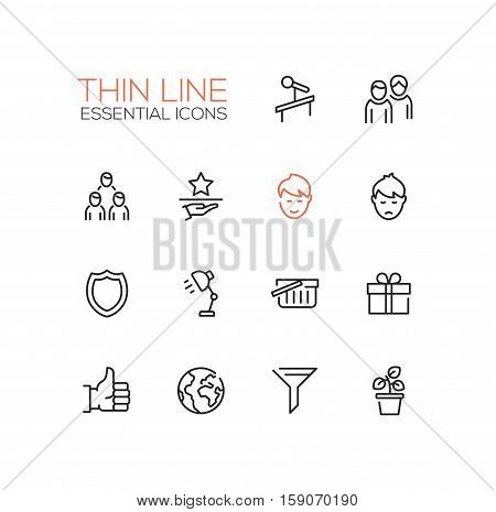 Business Essential - modern vector plain simple thin line design icons and pictograms set. Tribune, people, network, award, shield, lamp, shopping basket, present, thumb up, globe, funnel plant