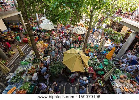 FUNCHAL, MADEIRA, SPAIN - SEPTEMBER 2, 2016: Fresh exotic fruits in Mercado Dos Lavradores. Funchal Madeira Portuga