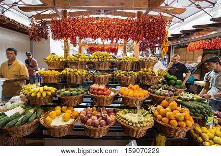 FUNCHAL, MADEIRA, SPAIN - SEPTEMBER 2, 2016: Fresh exotic fruits in Mercado Dos Lavradores. Funchal Madeira Portugal