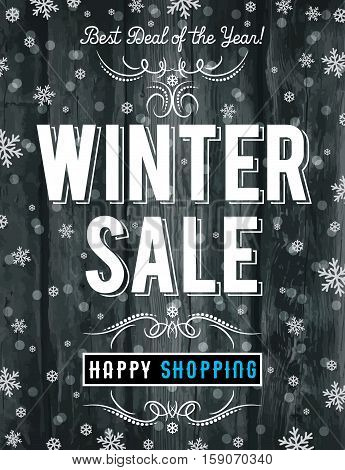 Black Christmas poster with snowflakes and sale offer vector illustration