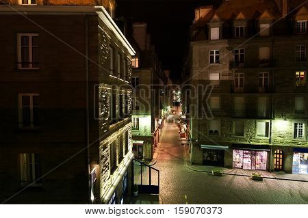 Saint-malo At Night-- Is A Walled Port City In Brittany In Northwestern France On The English Channe