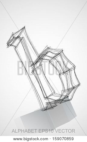 Abstract illustration of a Ink sketched lowercase letter B with Reflection. Hand drawn 3D B for your design. EPS 10 vector illustration.